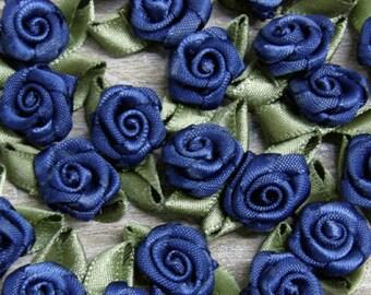 Navy Blue Rosebuds Roses Wedding Card Embellishments Rose buds card Craft Sewing 25  50 100 500