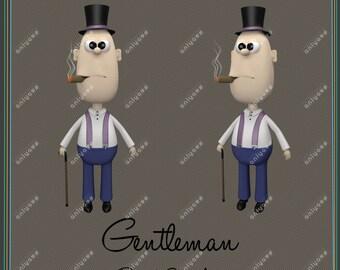 "Gentleman Clip Art Set Printable clipart , PNG, 300 dpi, format 12"" * 12"". Instant Download"