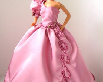 Fashion Doll Pink Evening Gown OOAK with beading and florets 11.5 inch dolls dress 11 1/2 inch elegant gown