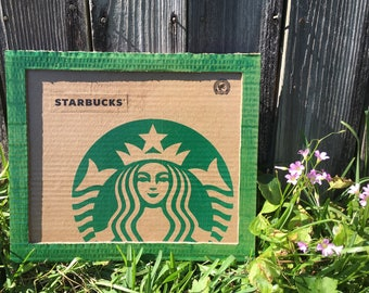 Starbucks Upcycled Bag Framed Wall Decor
