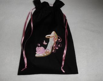 bag ladies shoes embroidery machine black cotton fabric