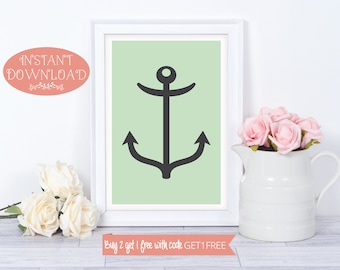 Printable Art, Nautical Wall Art, Bathroom Print, Bathroom Printable, Nautical Printable, Nautical Print, Nautical Art, Minimalist, Prints