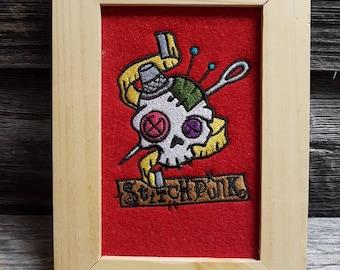 Stitchpunk - Framed Machine Embroidery