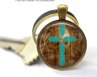 WOODEN CROSS Key Ring • Turquoise Cross • Christian Cross • Christian Key Ring • Faith Key Ring • Gift Under 20 • Made in Australia (K419)