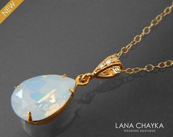 White Opal Gold Necklace Swarovski White Opal Rhinestone Necklace Opal Teardrop Wedding Necklace Bridal Bridesmaids White Opal Gold Jewelry