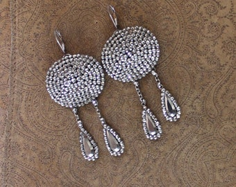 Amazing Antique Cut Steel Earrings on Vintage Sterling Ear Wires