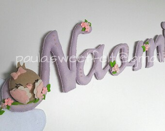 Cute little birds sign /name banner with cursive lettering
