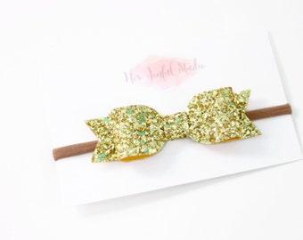 gold glitter bow headband - glitter bow - glitter bow headband - gold bow - gold bow headband - baby glitter headband - READY TO SHIP
