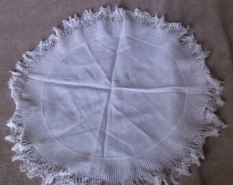 Crochet Edge Circular Linen Dollie