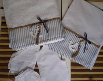 Orthodox Baptism Set Ladopana -Boys Baptismal set-5 Pieces Towel Set Orthodox Baptism-Greek Christening