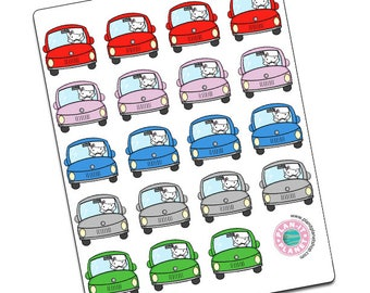 Luna Goes Driving -- Original Hand Drawn Stickers by Plan-It Planet