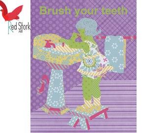 Brush Your Teeth,Kids Bathroom Art,Kid Bathroom Decor,Bathroom Wall Art,