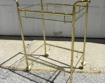 Faux Bamboo Gold Mid Century Bar Hostess Tea Cart