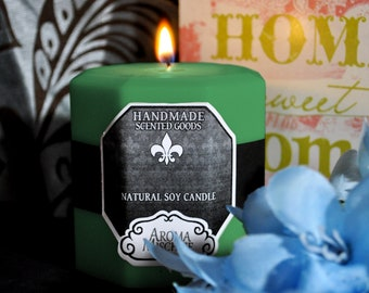 Green Tea & Lemongrass Soy Candles Pillar   Jasmine   Scented Candles   Housewarming Gift   Gift For Her   Pillar Candles   Carved Candles