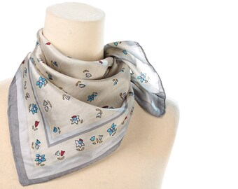 FLORAL SILK  Kerchief 90s Vintage Liberty Print Small Pocket Scarf Cream White Blue Red Square Retro Neck Scarf Bold Flowers Printed Gift