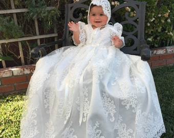 Stunning Alencon Lace Christening Gown, Baptism dress, Girls Christening Gown set