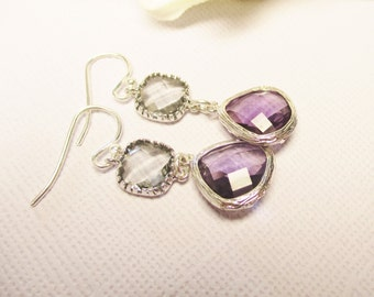 Purple Earrings, Gray and Purple Earrings, Bridesmaid earrings, purple and gray dangle earrings, gift for her