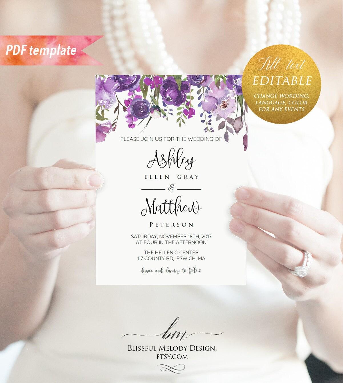 Printable Purple Lavender Floral Wedding Invitation Template