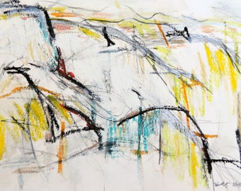 Landscape 4-29-14a - On the road series  (abstract expressionist painting, pastel, yellow, white, cream)