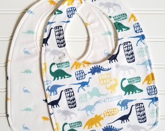 Baby Bib/Infant--18 mo./Set of Two Bibs/Stellasaurus/Organic Fleece Back