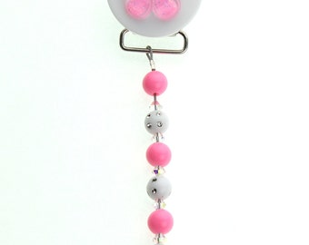 Pink Flower with Matching Pink & White Beads Pacifier Clip