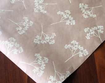 Hand printed wrapping paper || Queen Anne's Lace || cream || pale yellow || wildflowers || kraft || eco gift wrap
