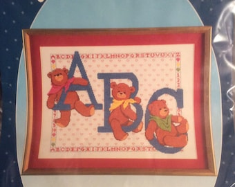 "Paragon Counted Cross Stitch Picture Kit #2541 ""A.B.C. Bears"" fits frame 14"" x 18"""
