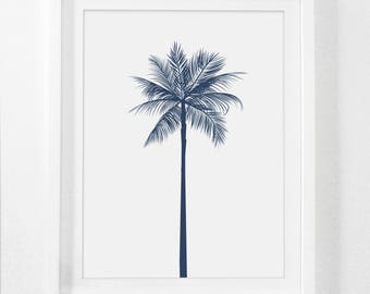 Palm Tree Decor, Navy Wall Decor, Navy Wall Print, Palm Artwork, Blue Wall Art, Blue Wall Print, Blue Prints, Blue Artwork, Printable Art