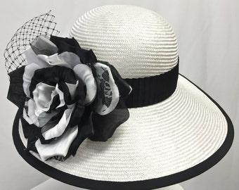 Women's White Cloche Hat, White Straw Summer Hat, Black and White Hat, Kentucky Derby Hat
