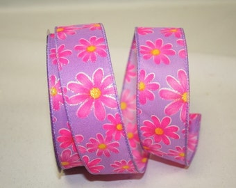 "2.5""x 10 yds  DAISY BRIGHT Wired edge Ribbon / lavender / 90821l"