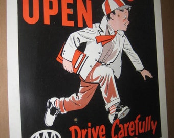 AAA School's Open Drive Carefully Cardboard Poster, 1958