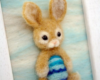 OOAK Needle felted easter bunny rabbit paint square wall art deco for children / nursery room
