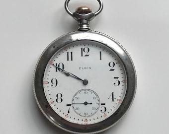 Vintage Sterling Silver Elgin Pocket Watch