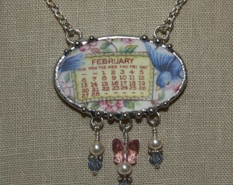 February 1921 Bluebird Calendar Plate Broken China Jewelry Necklace with Month, Bird and Roses