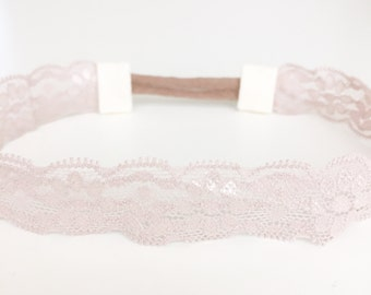 Taupe light blush lace baby toddler headband