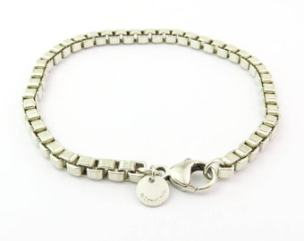 Authentic TIFFANY & CO Sterling Silver Venetian Square Link Bracelet