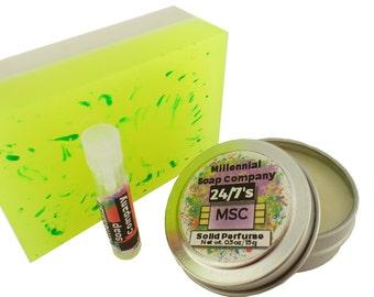 Save! Soap + Tin + Vial Combo //vegan, made in Canada// solid perfume , perfume sample vial , soap bar