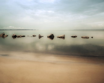 Rocks - Bay - Blue - Seafoam Green - Water - Sand - clouds