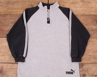 "Mens Vintage Puma Grey Contrast Sleeve Half Zip Sweatshirt Medium 38"" R7660"