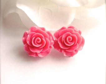 Pink Rose Clip On Earrings, Rose Earrings, Flower Earrings, Pink Flower Clip Earrings, Wedding, Bridesmaid Jewelry, Romantic Gift for Her