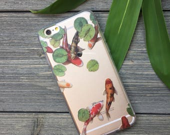 Koi Fish Pond Phone Case for iPhone 5, SE, 6, 6 Plus, 7, 7Plus, 8, 8 Plus and X. TPU or Wood Options