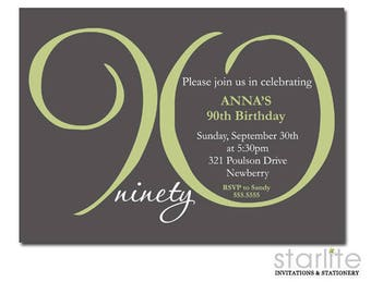 90th Birthday Invitations Printable, 90th Birthday Invitation for Women, ANY AGE Ending in ZERO, Sage Green Grey, Printed Invitations