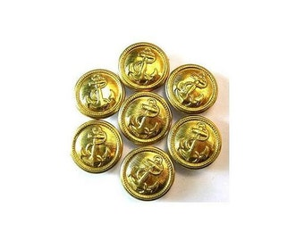 7 Metal  vintage buttons, carved anchor picture, gold color, 13mm