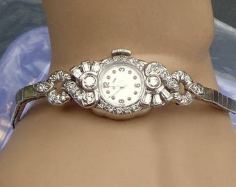 Solid 14k White Gold Watch, 40 Diamonds, Solid 14K White Gold Bracelet, Hamilton Ladies Dress Watch ~ Keeps Accurate Time,