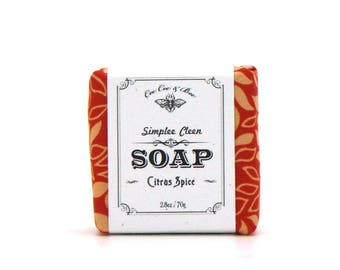 Orange Spice Soap, Simplee Cleen Soap 2.8oz, Vegan and Palm Free Soap