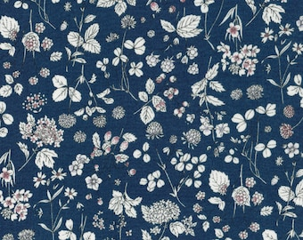 Lecien Memoire a Paris   Navy Blue Liberty Style Wildflowers    Cotton Lawn   Yardage   By the Yard   Cut to Size   sku 40741-77