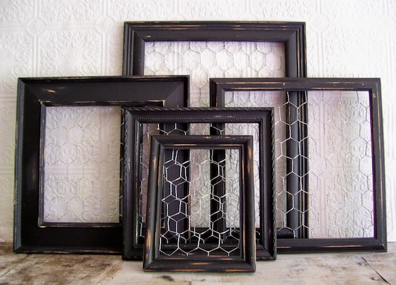 5 painted frames Picture frames chicken wire French Country Gothic ...
