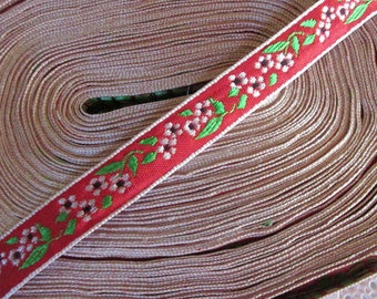 "2 Yards Floral Trim 1/2"" Wide Jacquard Ribbon Red Black Green White HG03"
