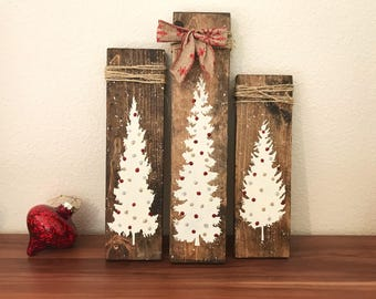 Christmas tree wood sign, rustic holiday decor, twine wrapped trees, holiday accents, Christmas decor