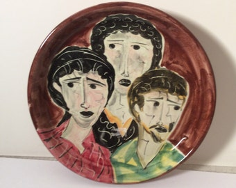 Signed Italian Art Pottery Dish Limited Edition -Mid Century -  3 faces